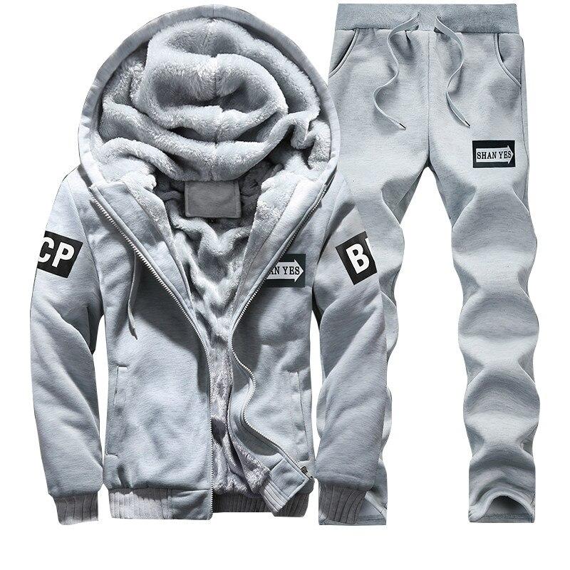 Image 5 - Winter Brand Warm Hooded Fur Fleece Hoodies Men 2019 Jacket Men  Hoodies Sweatshirts Men Coat Pant 2 PCS Cardigan Tracksuit Menfleece  hoodies menbrand tracksuit mentracksuit brand men