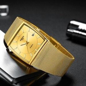 Image 2 - Nibosi marca de luxo relógios masculinos aço inoxidável malha banda quartzo esporte relógio cronógrafo masculino relógios de pulso relógio quadrado