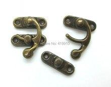 Бесплатная доставка-50 Наборы для ухода за кожей металлический крючок коробка Защёлки застежка Box Lock кошелек замок Античная бронзовая 4 отверстия 3.3 см х 2.7 см 2.7 см x 0.9 см, j2700