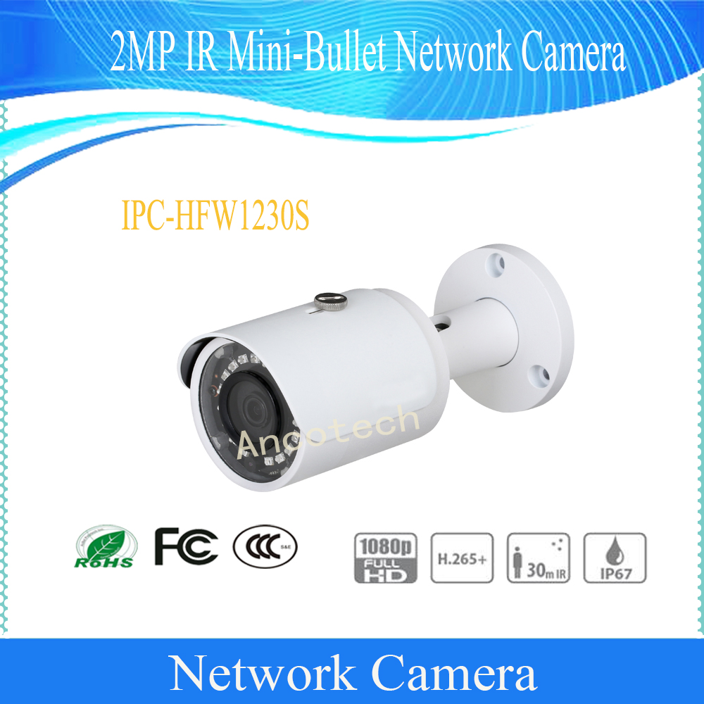Free Shipping DAHUA Security CCTV IP Camera 2MP Surveillance IR Mini-Bullet Network Camera With POE IP67 No Logo IPC-HFW1230S free shipping dahua security cctv ip camera 5mp wdr ir mini bullet camera with poe ip67 no logo ipc hfw1531s
