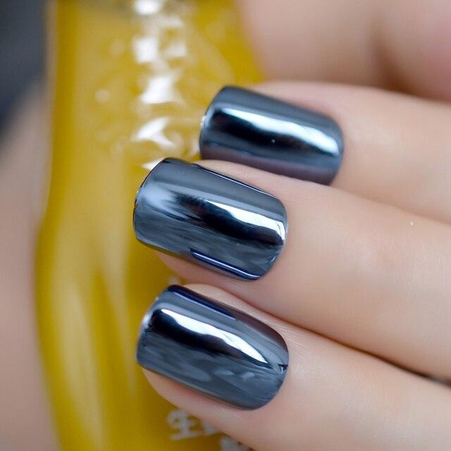 Reflective Mirror Blue Gray Metal Plating False Fake Nails Navy Blue