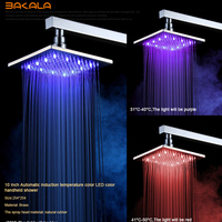 Brand New 8 10 12 Inch Wall Mounted Bathroom water shower head colour changing Square led rainfall shower head+ Shower Arm