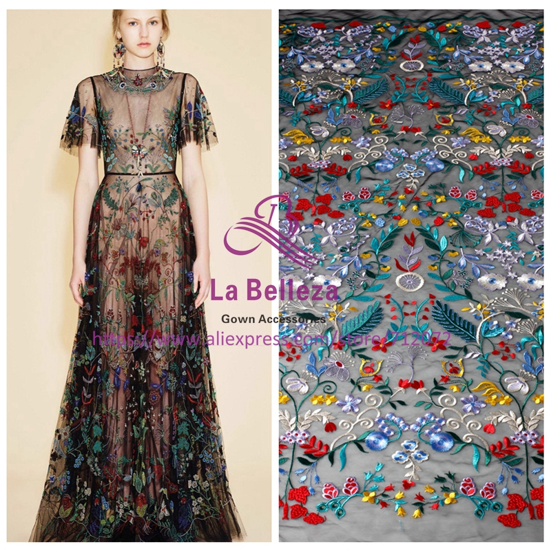 La Belleza New mixed color embroidery lace fabric wedding party wear lace 130cm width 1 yard