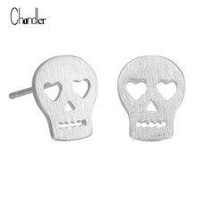 Punk Skull Skeleton Stud Earring Brushed Plain Love Rock Boho 925 Sterling Silver Jewelry For Women Festival Gift Drop Shipping