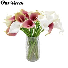 OurWarm 2Pcs Simulation Calla Lily Artificial Flower PU Real Touch Wedding Decoration Flowers Bouquet Home Party Decor flores pu real touch artificial calla flower bonsai