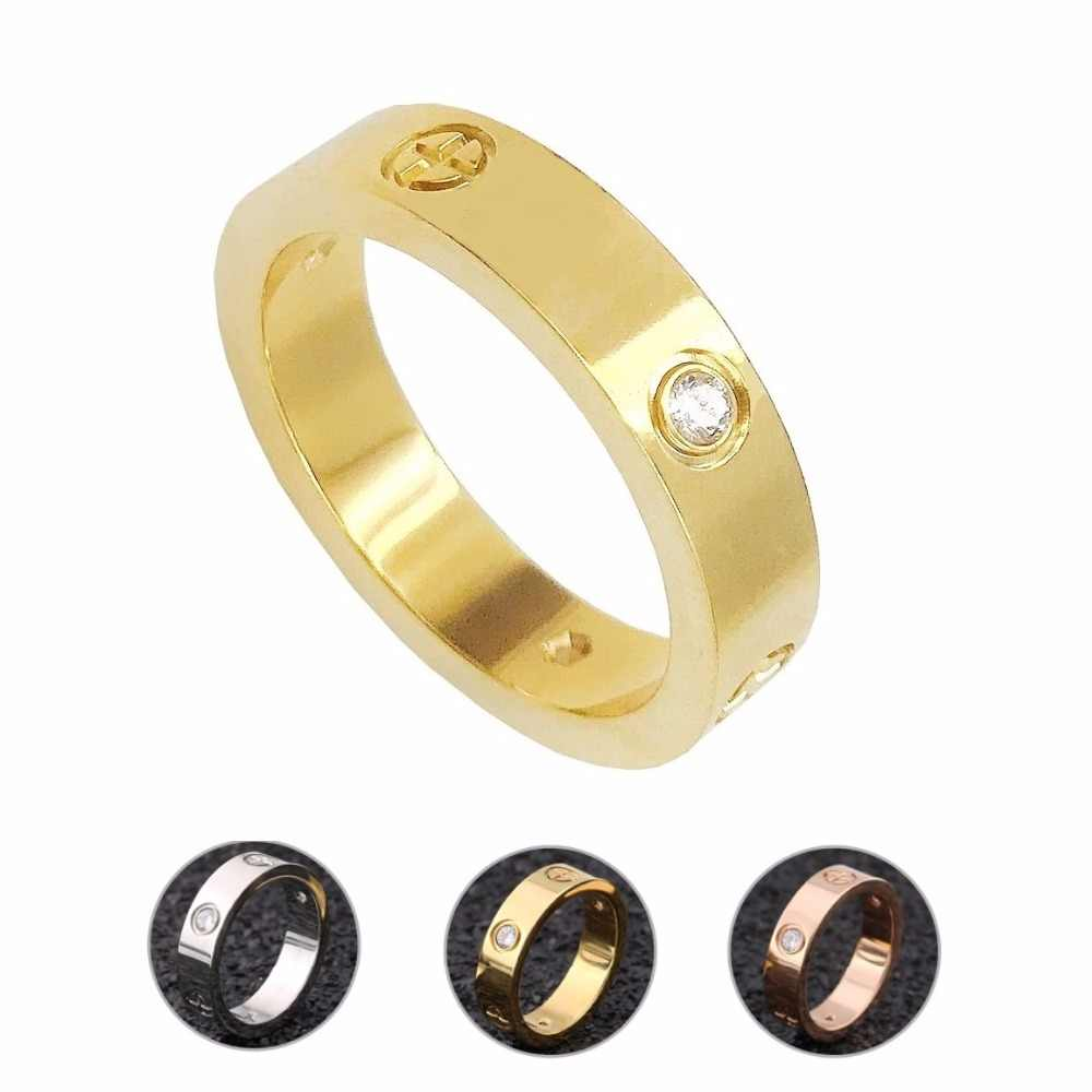 Fashion Gold Stainless Steel Men Ring With Stone Crystal Zircon Ring For Men Couple In Wedding With Cross