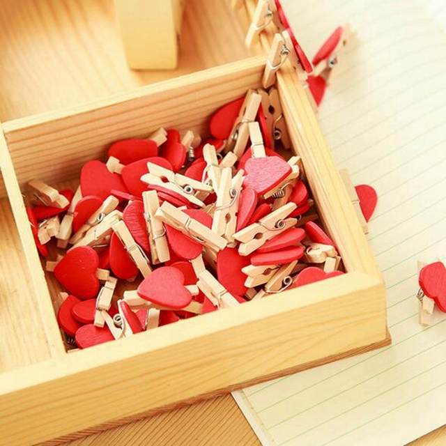 50/100pcs Red Mini Hearts Peg Wooden Pegs Pretty Photo Clips DIY Wedding Party Craft Home Decor YYY9137