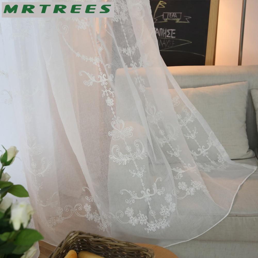 MRTREES Modern Işlemeli Sırf Perdeleri Pencere Tül Perdeleri - Ev Tekstili - Fotoğraf 4