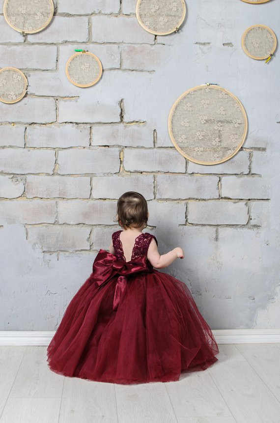 936623b33 Detail Feedback Questions about Burgundy Flower Girl Dress Lace ...
