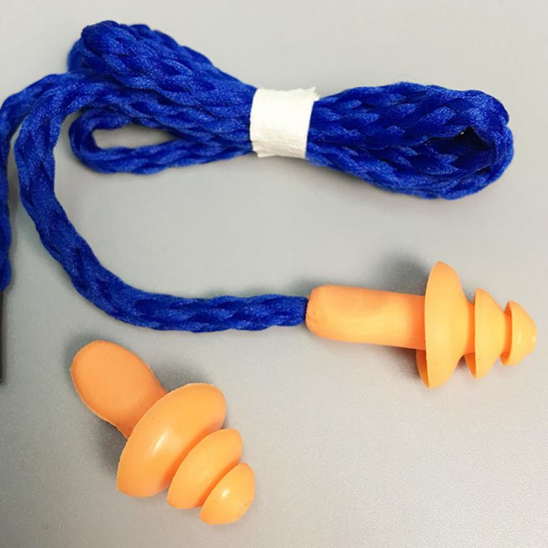 Soft String Sound Insulation Silicone Earplugs Christmas Tree Shape Earplugs Orange Belt Line Learning Sleep Work Earplugs