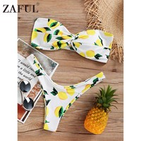 ZAFUL Lemon Print Twist Bandeau Bikini Set Strapless High Leg Bikini Swimwear Women Thong Bikini Push