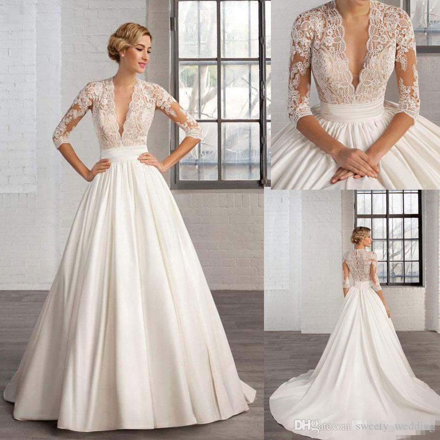 hell im Glanz großartiges Aussehen Sortenstile von 2019 Spitze Tiefem Ausschnitt Kleid Nachnahme Hochzeit V Vintage ...