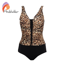 Andzhelika Sexy Leopard One Piece Swimsuit Women Plus Size Swimsuit New Fold Brazilian Bodysuit Bathing Suits Monokini