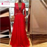 Red Long Sleeves Evening Dresses 2018 Beads Sequins V-Neck Open Backless Crystal Party Prom Gowns Ruffles Court Train DQG152