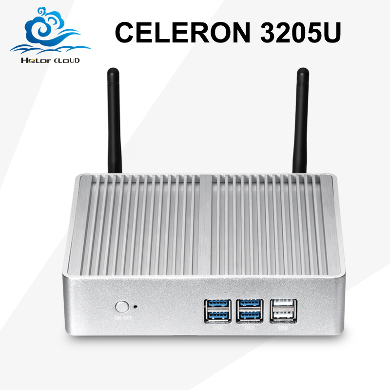 Mini Desktop Computer Celeron 3205U Mini PC Dual Core Windows 10 Office Computer Low Power Fanless