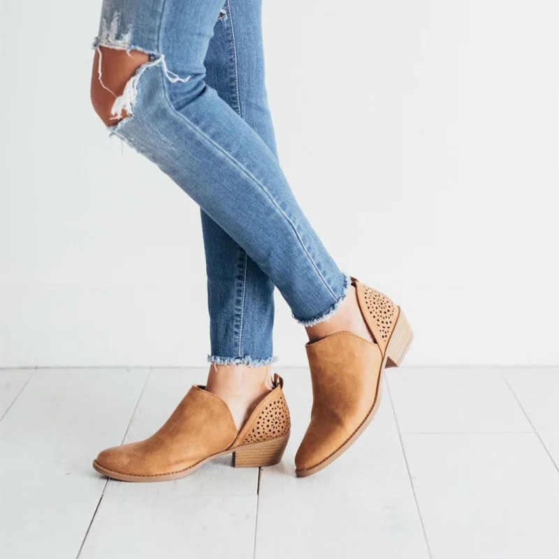 LOOZYKIT 2019 Yaz Kadın Ayakkabı Retro Yüksek Topuk Çizmeler Kadın Kayma Orta Topuklu Rahat Botas Mujer Patik Feminina Boyutu 43