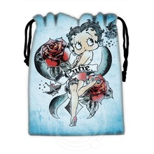 H P648 Custom Betty Boop 4 drawstring bags for mobile phone tablet PC packaging Gift Bags18X22cm