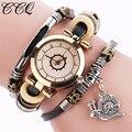 Ccq reloj de mujer de marca de lujo de reloj de pulsera de cuero de vaca de la vendimia mujeres de los hombres reloj de pulsera señoras reloj de cuarzo vestido feida