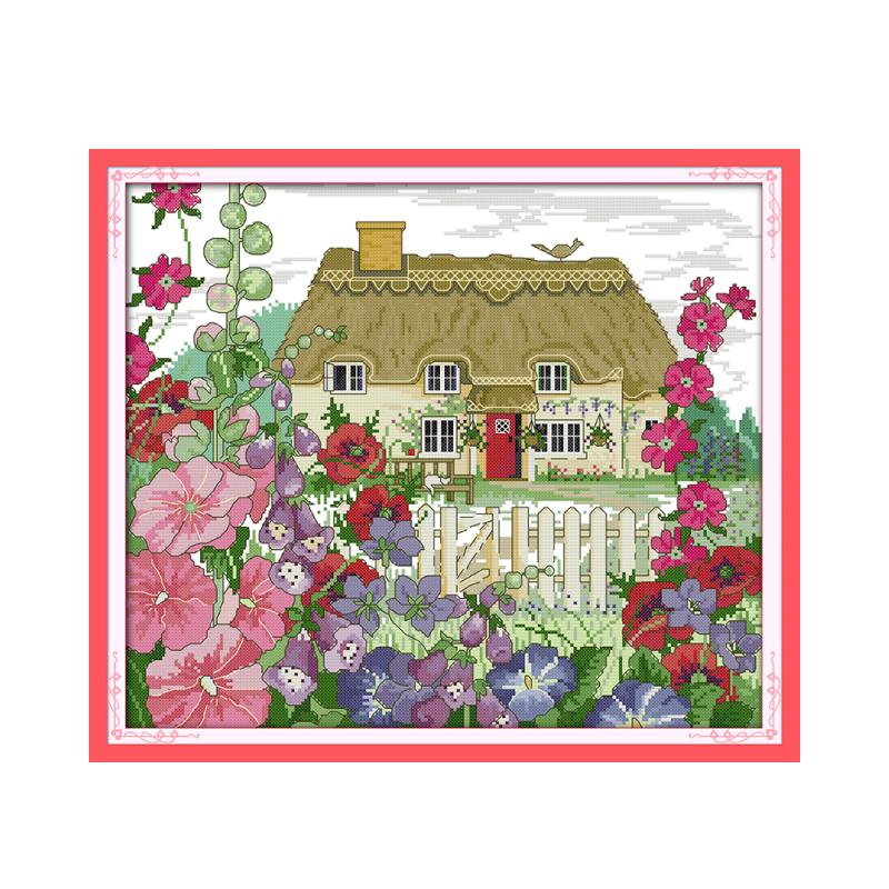 Joy Sunday Blooming morning glory spring beauty outskirts cottage hand embroidery DMC embroidery thread decorative painting