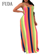 FUDA Elegant Color Strip Printed Loose Maxi Dress with Pockets Women Summer Sleeveless Hollow Out Leisure Floor-length