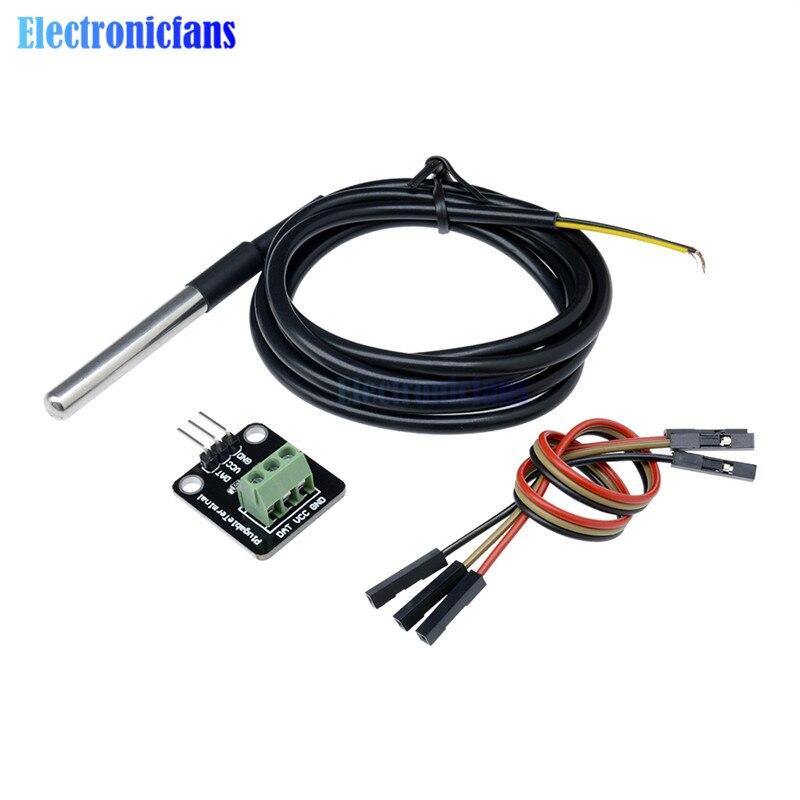 DS18B20 Температурный датчик модуль комплект водонепроницаемый 100 см цифровой датчик кабель из нержавеющей стали зонд терминал адаптер для Arduino