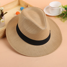 2018 Summer Straw Jazz Hat With Bow Band Fashion Beach Panama Cap Solid Women Men UV Protection Sun Hats
