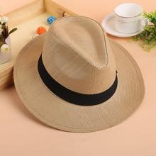 Jazz Hat Sun-Hats Straw Panama-Cap Uv-Protection Beach Summer Women Fashion Solid