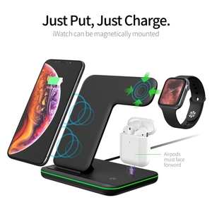 Image 1 - 3in1 15W Qi Wireless Fast Charger For Iphone X/Xiaomi/Huawei Phone Vertical Charger Dock Station For Apple Airpods Watch 4 3 2 1