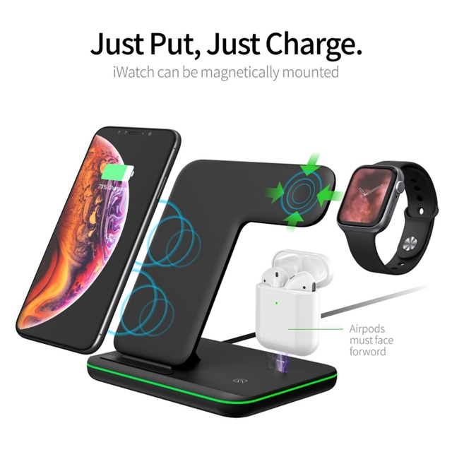 3in1 15W Qi Wireless Fast Charger For Iphone X/Xiaomi/Huawei Phone Vertical Charger Dock Station For Apple Airpods Watch 4 3 2 1