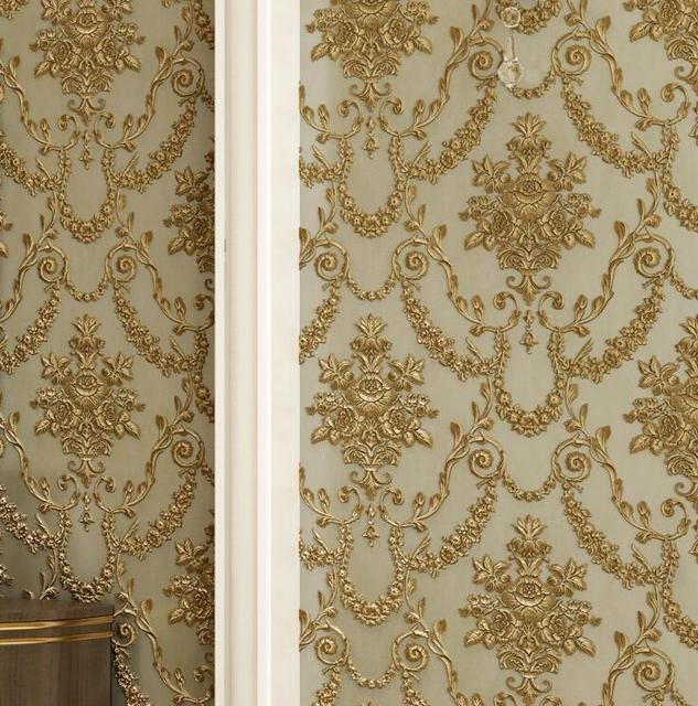 3d wallpaperLuxury Gold damask Wallpaper Modern wall paper Beige Non-woven Metallic damask wallpaper roll for living room bedroo