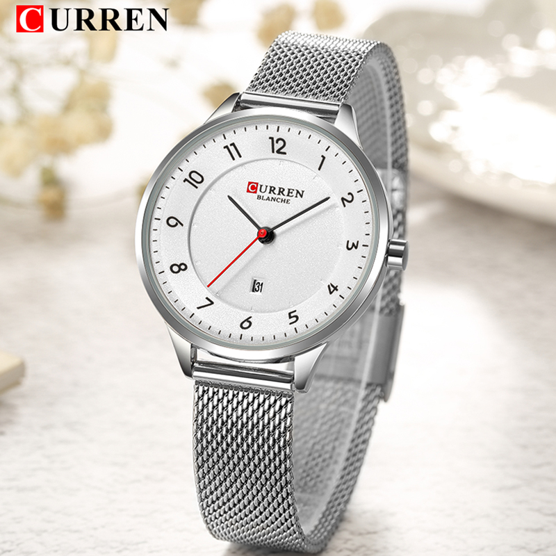 CURREN Relogio Feminino Fashion Women Stainless Steel Analog Quartz Wrist Watch Simple Style Lady Watches Silver Male Clock