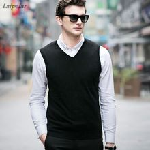 Autumn Winter Cashmere Classic Vest Sweater Men Sleeveless Sweaters Solid Color V-Neck Wool Pullovers Jersey Hombre Laipelar