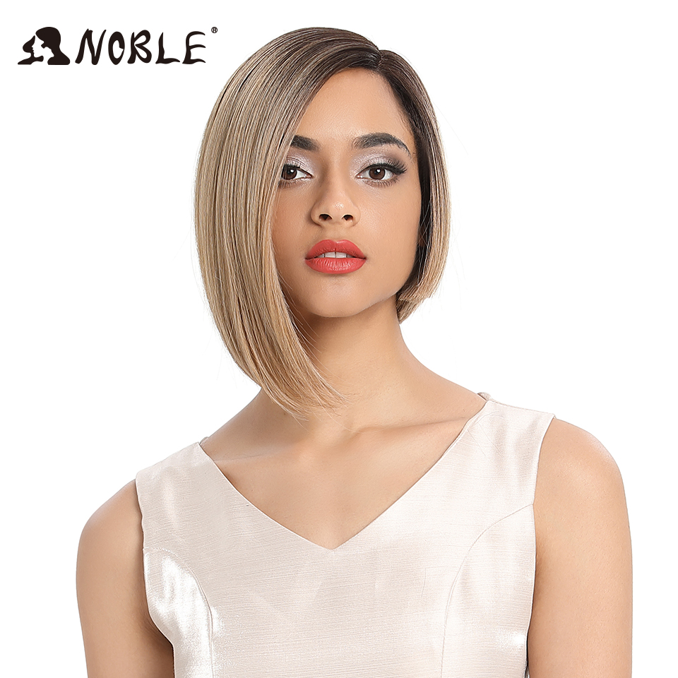 Noble Wigs Blonde Front-Hair Lace Cosplay Straight Black-Women Synthetic Ombre 6-Color