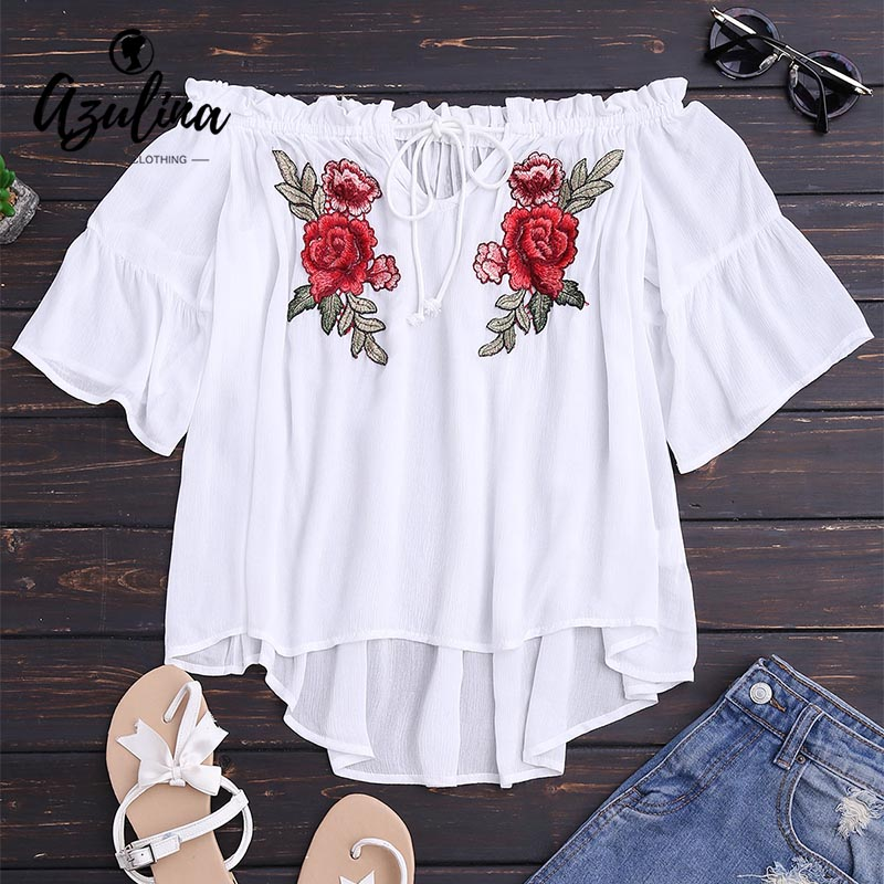 AZULINA Off Shoulder Blouse Shirt Women Floral Embroidery Loose White Tops Oversize Lace Up High Low Top Ladies Ruffle Blusas