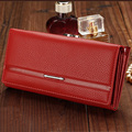 Red Women leather Wallet Phone Pocket Card holder Case Female Long Wallets Hasp Clutch passport cover Lady Purse Big capacity