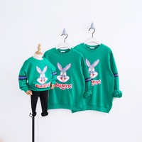 Family Matching Clothes Green Cartoon Rabbit Hoodies for Girls Matching Mother and Daughter Father Son T shirt Family Look 2019