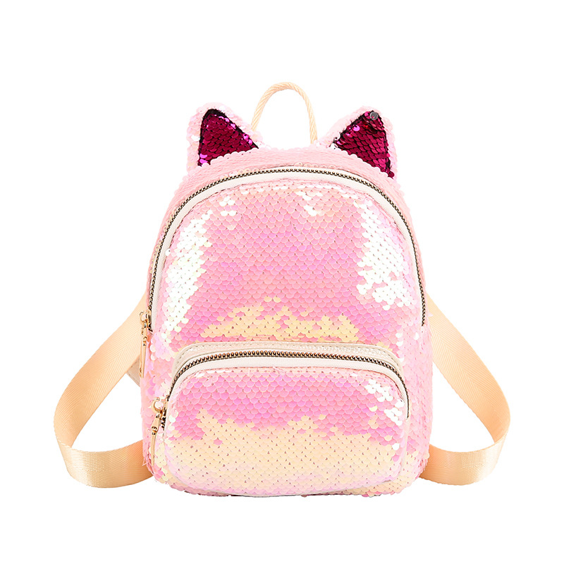 Cute Women's Sequin Backpack Bunny Ear Girl School Bag Bright Color Flash Fashion Mini Bag