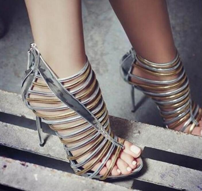 Metallic Gold/Silver Leather Straps Women Open Toe Sandals Sexy Cut Out Ladies Fashion High Heels Zipper Back Gladiator Sandals hottest golden metallic leather wing sandals silver gold red gladiator high heels shoes women metallic winged sandals