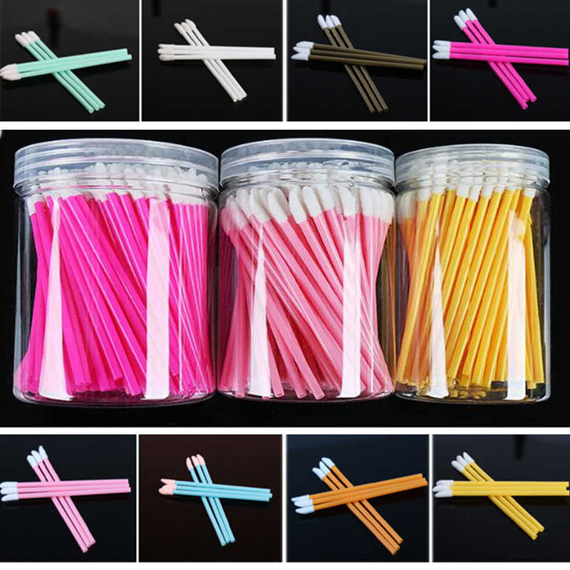 100 stuks Wegwerp Lip Borstel Kit Mascara Lippenstift Gloss Wimper Wands Remover Cleaner Applicators Met Houder