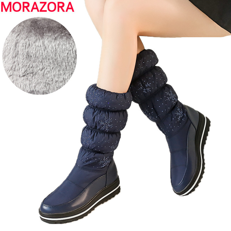 Morazora Plus Size 35-44 Russia Warm Snow Boots Women Flat Platform Shoes Thick Fur Winter Boots Ladies Mid Calf Boots Drop Ship Tapes, Adhesives & Fasteners