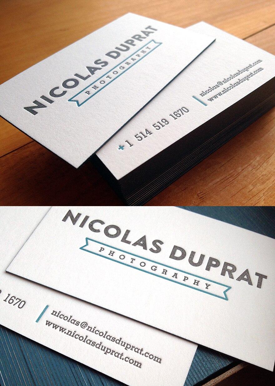 Einfache Design Angepasst Prägung Druck Visitenkarten Rand