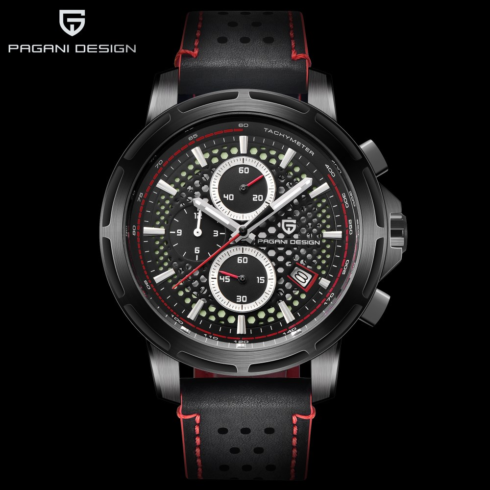 PAGANI DESIGN Fashion Sport Chronograph Watch Top Brand Luxury Waterproof Leather Strap Quartz Mens Watches Clock Reloj Hombre mens watches top brand luxury pagani design genuine leather quartz watch men outdoor sport chronograph reloj hombre wrist watch