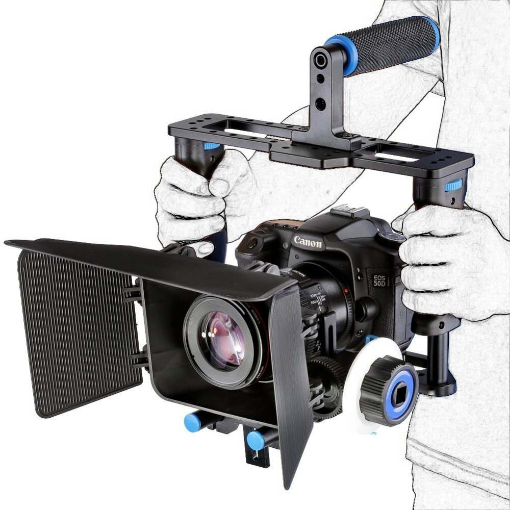 DSLR Rig Camera Shoulder Stabilizer Movie Film Support Kit Follow Focus Matte Box for Canon Nikon Sony  Video Camcorder dslr rig video stabilizer shoulder mount rig matte box follow focus dslr cage for canon nikon sony dslr camera video camcorder