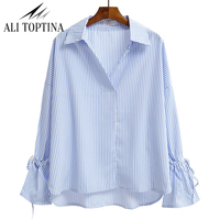 Korean 2017 Spring Clothes New Pattern V Lead Blue Ious Grain Shirt Woman Long Sleeve Easy