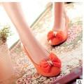 Lady's Larger size 34-43 sweet Women Pumps bowtie Glitter soft Round toe wedges Single shoes orange/black/beige Kvoll Low heel