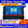 30A LCD solar charge controllers 12V/24V auto for 12v battery,solar panels regulators,2*USB for Mobile charge,MPPTSUN Brand,CE