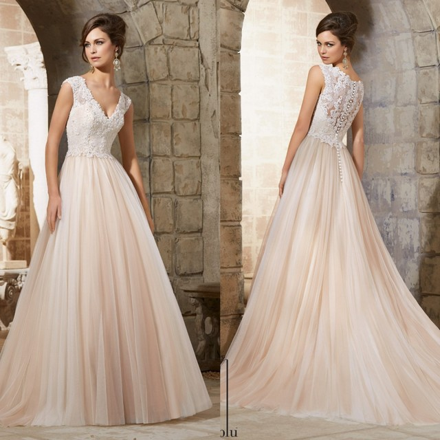 Simple Long A Line Cap Sleeve Train Lace Wedding Dresses: A Line V Neck Tulle Bridal Gowns Cap Sleeves Lace Wedding