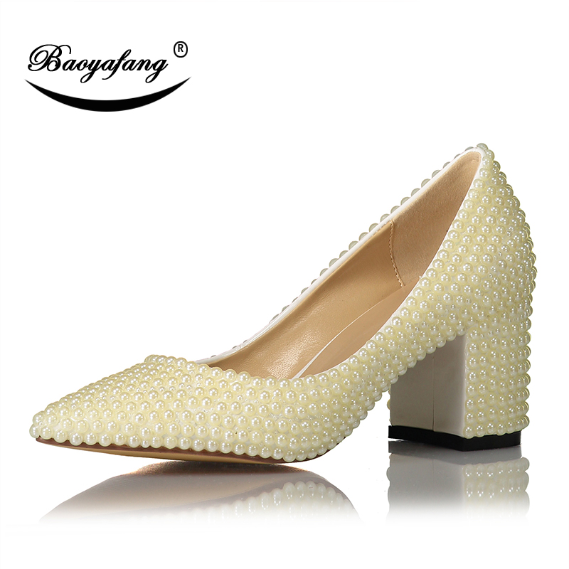 BaoYaFang Ivory Pearl Womens Wedding shoes Woman Block heel Girls Performance shoes Beads party shoes Sweet Med heel Pointed Toe ivory fashion lace flowers flat heel wedding shoes woman pearls ankle beading beaded anklet sweet flower girls bridesmaid shoes