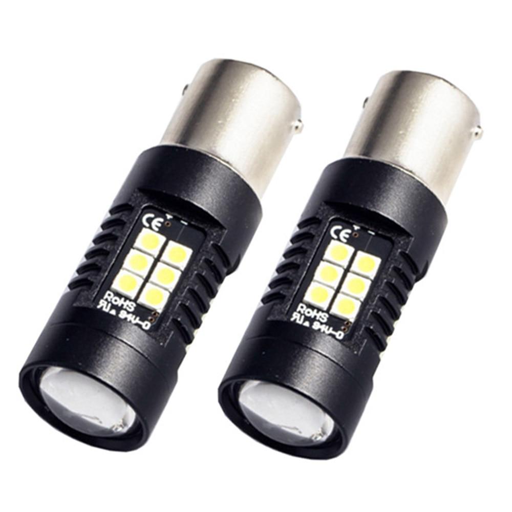 2 Pcs P21W LED 1156 BA15S LED Lampen Auto Lichten 1200Lm Richtingaanwijzer Reverse Brake Light R5W 3030 LEDs 12 V 24 V Automobil