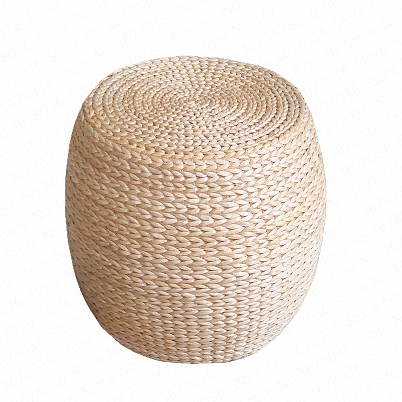 Solid Wood Straw Wicker Tat Round Pier Shoe Stool Bay Window Mats Futon Stool Household Sofa Stool Wine Patio Simple Rattan(China)
